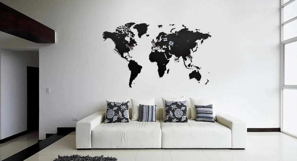Unikatowa, drewniana mapa świata do naklejenia na ścianę.
