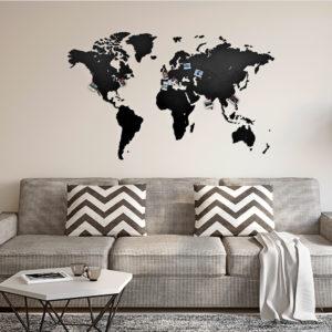 Drewniana mapa na ścianę