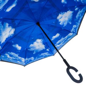 Wewnętrzny materiał posiada piękny wzór w błękitne niebo z chmurkami.