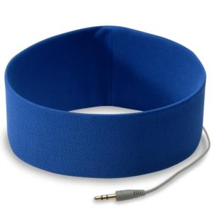Opaska słuchawki w kolorze niebieskim do biegania.
