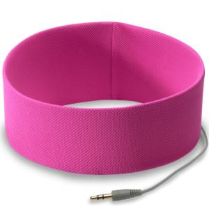 Opaska słuchawki w kolorze różowym do bieganania.