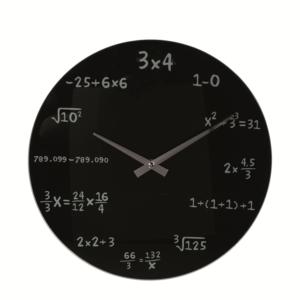 Szklany zegar ścienny o średnicy 35 cm.