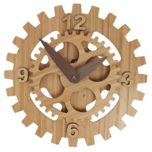 Zegar w kolorze naturalnego bambusu.