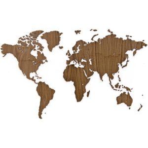 mapa świata na ścianę drewno orzech